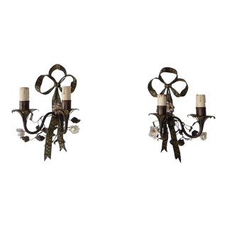 French Tole With Porcelain Flowers Bows Sconces, Circa 1870 For Sale