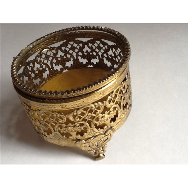Vintage Gold Filigree Ornate Jewelry Box - Image 5 of 5