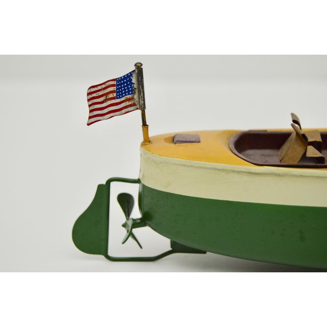 Nautical Vintage Metal Boat Model For Sale - Image 3 of 6