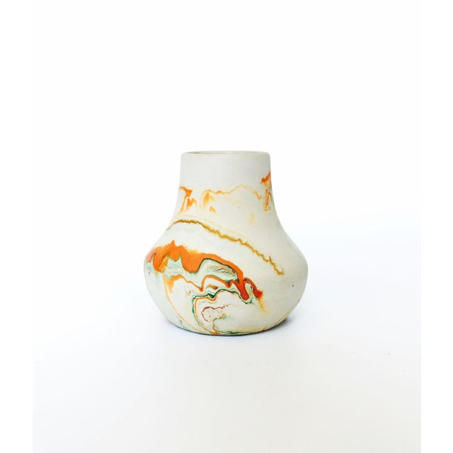 Vintage Nemadji Pottery Vase - Green and Orange Swirls - Image 2 of 5