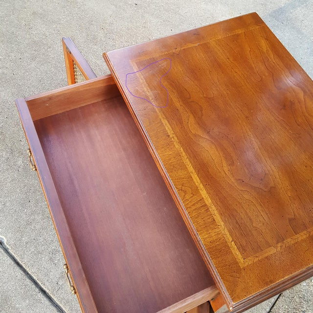 Vintage Henredon Chippendale Style Banded Walnut Nightstands-A Pair For Sale - Image 12 of 13