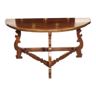 18th Century Italian Walnut Wood Demi Lune Console Table For Sale