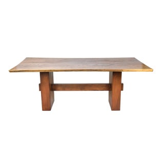 1990s Rustic Walnut Live Edge Slab Dining Table For Sale