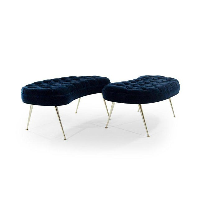 Donghia Tufted Benches in Deep Blue Mohair (Pair Available) For Sale - Image 4 of 12