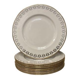 Lenox Modano Lace Pierced Edge Dinner Plates Set of 8 For Sale
