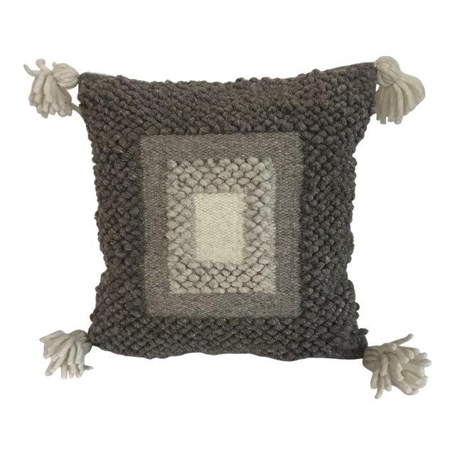 Gray & White Boho Wool Pillow For Sale