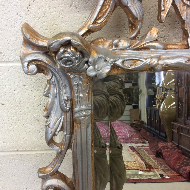 1970s Large Ornate Silver and Gold Leaf Mirror For Sale - Image 5 of 13