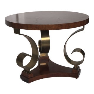 Elegant French 40's Burled Wood and Brass Petite Side Table For Sale