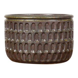 Modern Christian Boehr Dark Green Ceramic Stoneware Planter For Sale