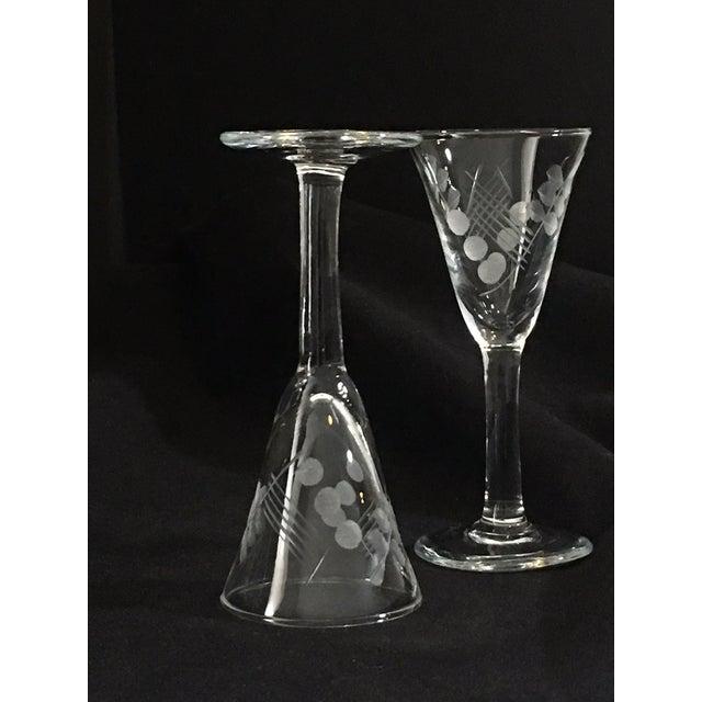 Vintage Etched Shot Glasses - Set of 12 - Image 4 of 9
