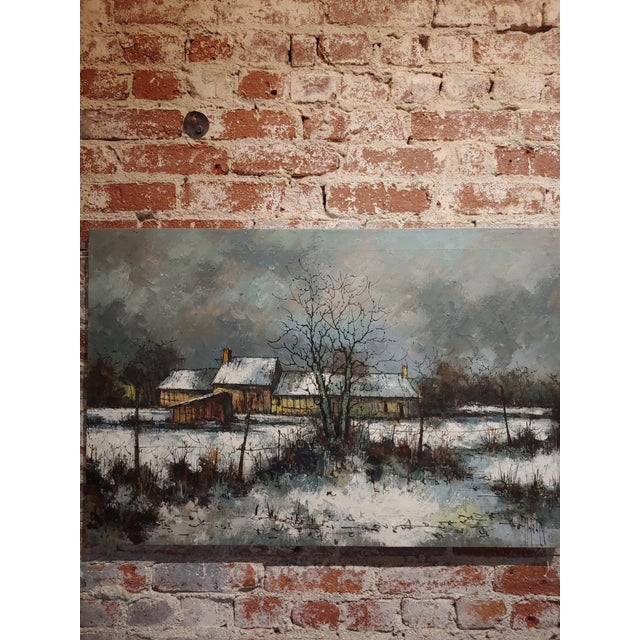 Aldo Luongo - Cottage in a Winter countryside Landscape - Oil painting oil painting on canvas -Signed circa 1970s no frame...