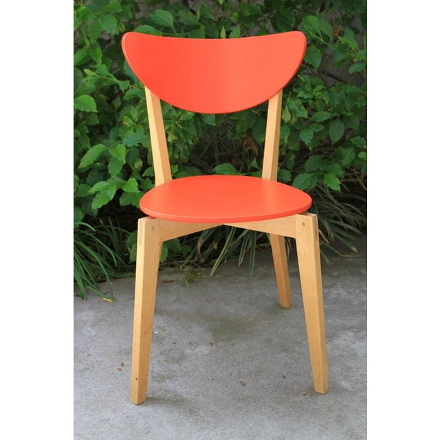 Mid Century Tangerine Chairs - Set of 3 - Image 6 of 8