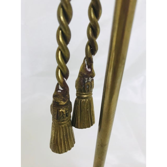 Metal 1960s Vintage Brass Rope & Tassel Taper Candlestick Holder For Sale - Image 7 of 8