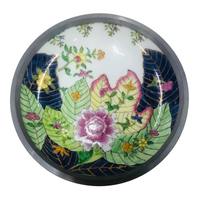 Tobacco Leaf Pattern Pewter Encased Bowl, Hong Kong For Sale