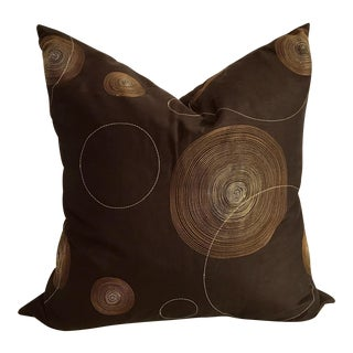 Brown Silk Embroidered Geometric Pillow For Sale