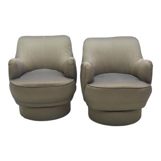 Early and Rare American Modern Pair of Barrel Swivel Chairs, Vladimir Kagan For Sale