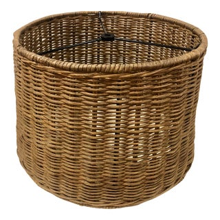 Vintage Wicker Rattan Handwoven Drum Lamp Shade For Sale