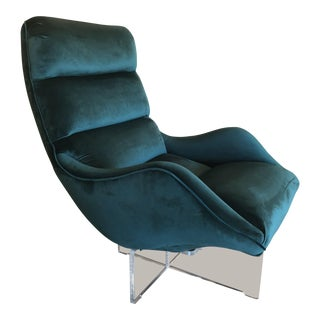 Vladimir Kagan Green Velvet Swivel Lucite Lounge Chair For Sale
