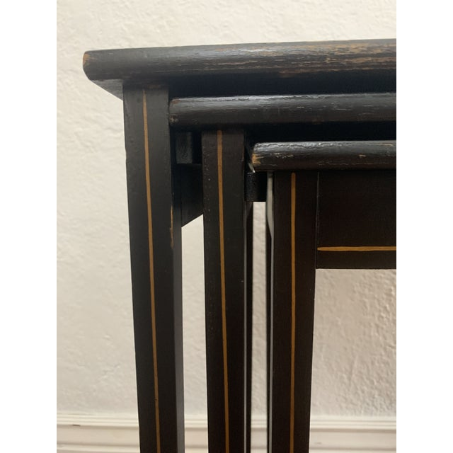 1940s Japanese Black Lacquer Nesting Table With Hand Painting - Set of 3 For Sale - Image 10 of 13