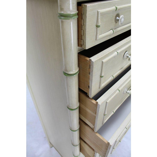 Brass Tall Faux Bamboo Decorated Seven Drawers Lingerie High Chest Dresser For Sale - Image 7 of 9