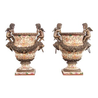 Late 19th Century Sevres Style Bronze and Porcelain Mantel Urns - a Pair For Sale