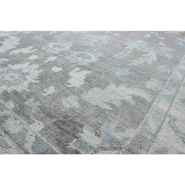 2000 - 2009 Vintage Gray Oushak Style Rug- 8′6″ × 11′6″ For Sale - Image 5 of 7