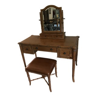 Vintage Ethan Allen British Colonial Chinese Chippendale Faux Bamboo Desk Vanity For Sale