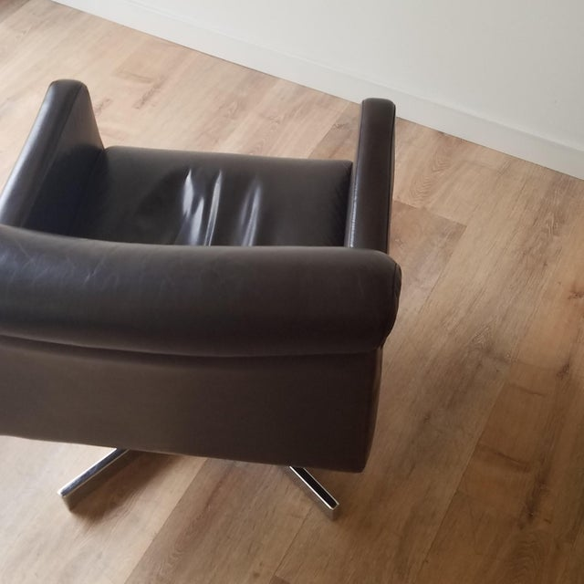 1980s 1980s Leather Swivel Reclining Chairs - a Pair For Sale - Image 5 of 12