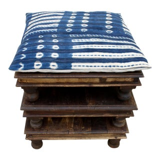 Vintage African Solid Wood Stacking Stools/Tables With Handmade Indigo Cushion From Mali - Set of 3