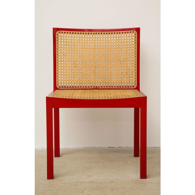 "Willy Guhl Set of Four Red Lacquered ""Bankshuhl"" Chairs by Willy Guhl for Stendig For Sale - Image 4 of 13"