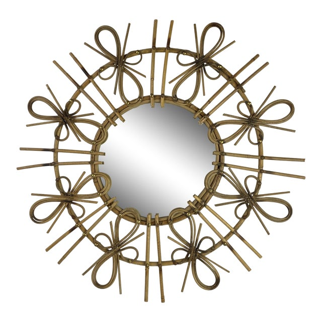 French Mid-Century Starburst Mirror For Sale