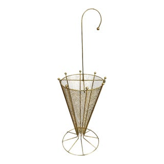 Vintage Brass Umbrella Shaped Umbrella Stand For Sale
