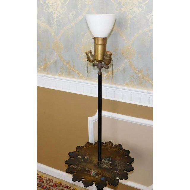 1930s Victorian Papier Mache Mother of Pearl Inlaid & Hand Painted Floor Lamp - Image 4 of 11