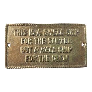 1970s Vintage Nautical Brass Captain Sign For Sale