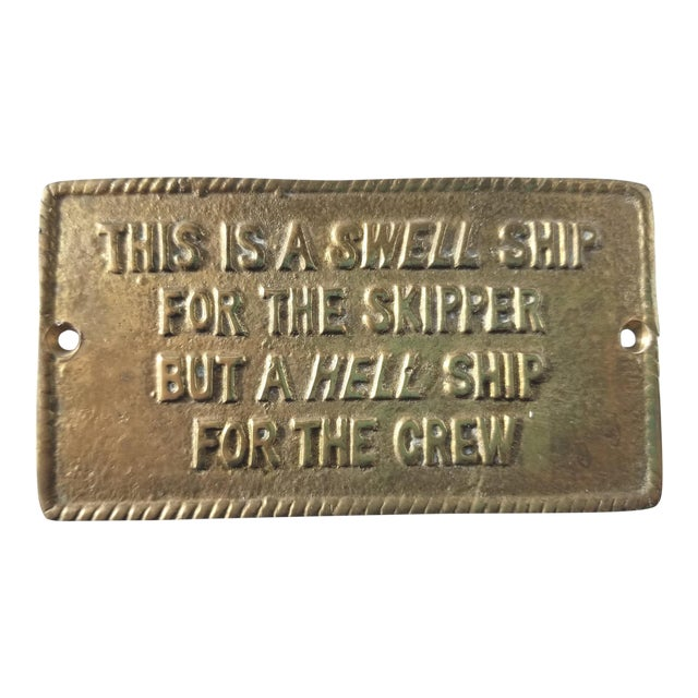 1970s Vintage Nautical Brass Humor Sign For Sale