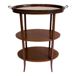 Edwardian Tiered Table of Inlaid Mahogany with Removable Tray For Sale