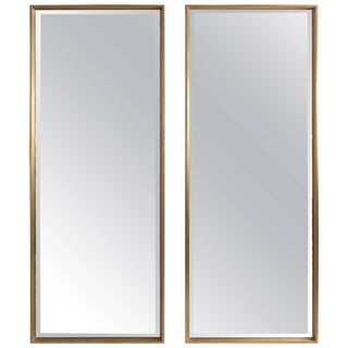 Modern Silver Gilt Full Length Mirrors - a Pair For Sale