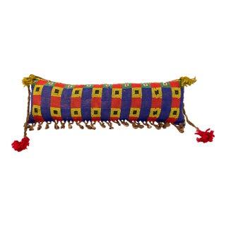 "Tribal African Kirdi Beaded Pikuran Lumbar Pillow 20"" W For Sale"