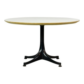 Mid-Century Modern Design White Round Side Table with Black Pedestal by George Nelson for Herman Miller, 1960s