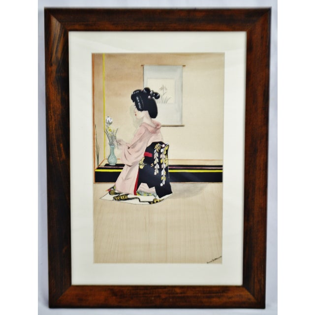 Vintage Framed Ink & Watercolor Japanese Geisha Painting - Artist Signed Condition consistent with age and history. Please...