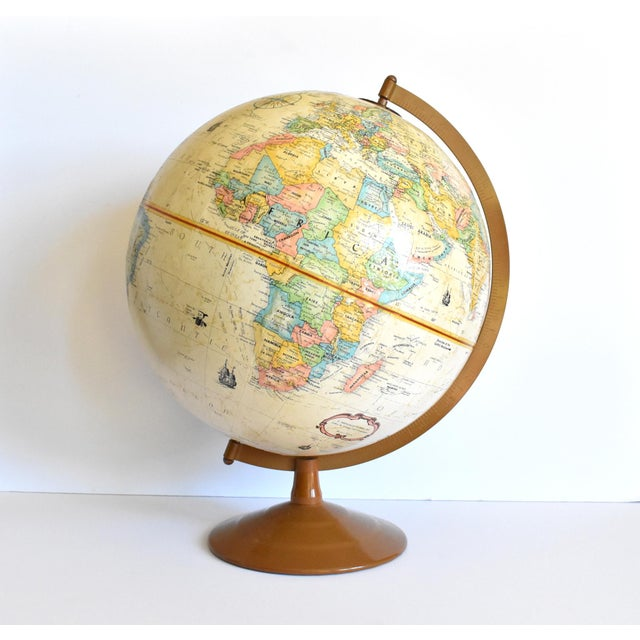 "Mid 20th Century Vintage 12"" Replogle Globemaster Topographical Relief Globe For Sale - Image 5 of 10"