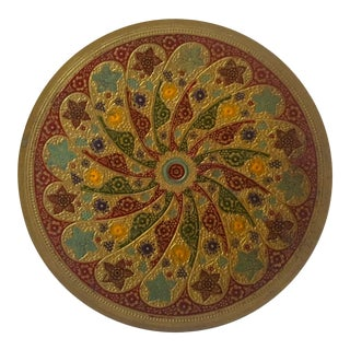 Vintage Mid Century Moroccan Multicolored Enameled Brass Relief Tray Platter For Sale