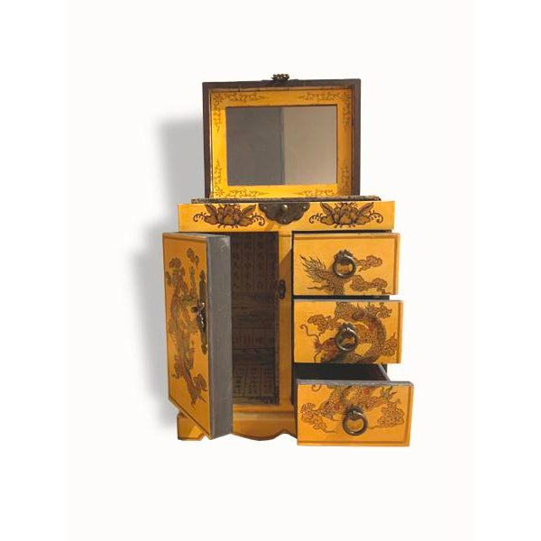 Chinese Wooden Yellow Jewelry Box For Sale - Image 3 of 6