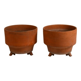 Large Mid-Century Unglazed Terracotta Planters on Stands - a Pair For Sale