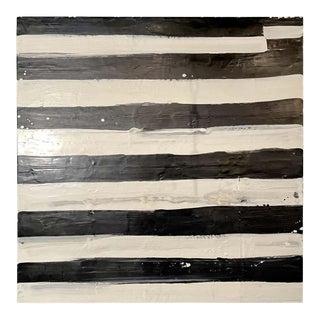 "Lynn Basa Encaustic Black and White Stripe Panel ""Not So "" 2012 For Sale"
