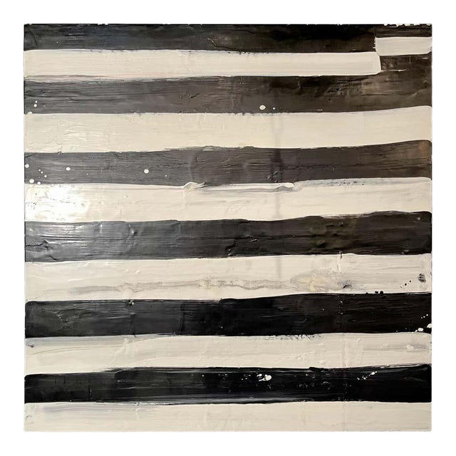 "Lynn Basa Encaustic Black and White Stripe Panel ""Not So Simple"" 2012 For Sale"
