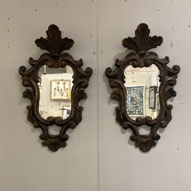 Vintage Wooden Shield Mirrors - a Pair For Sale - Image 11 of 11