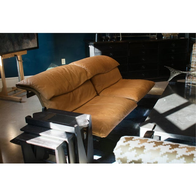 Brown Giovanni Offredi 'Wave' Leather Sofa by Saporiti, Italy For Sale - Image 8 of 13