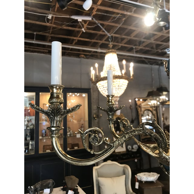 Metal Russian Imperial Blue Bronze Chandeliers a Pair For Sale - Image 7 of 13