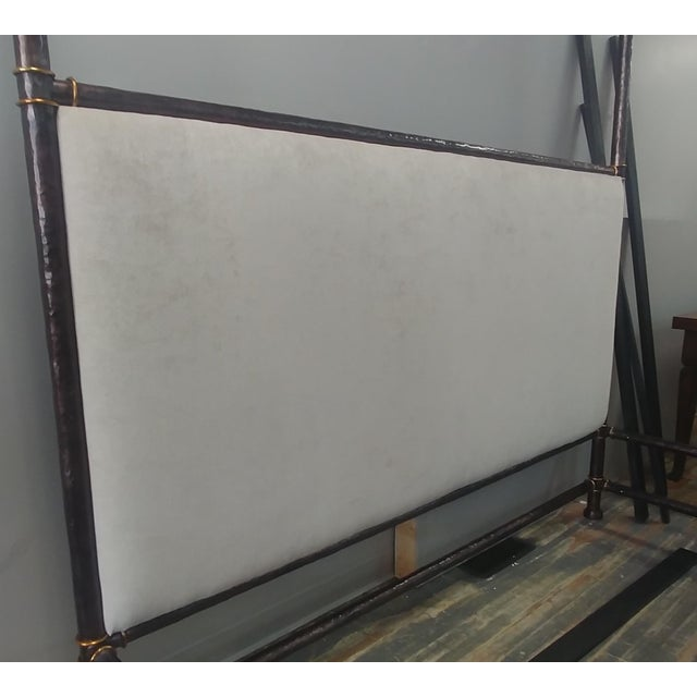 Brown Henredon Furniture Jeffrey Bilhuber Hammered Metal Bank St Queen Canopy Bed For Sale - Image 8 of 12